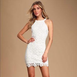 Lulus Love Poem Ivory Lace Mini Dress